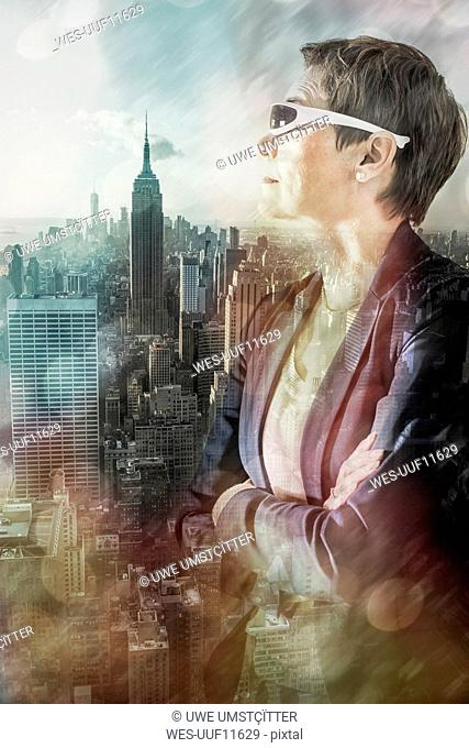 USA, New York City, woman looking at view from Rockefeller Center, composite