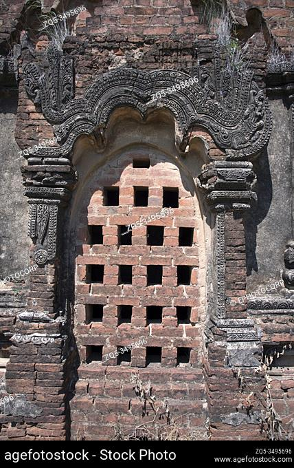 Myanmar: Bagan- Salay. General View of a perforated window to light the interior of one of the three temples of Paya Thon Zu