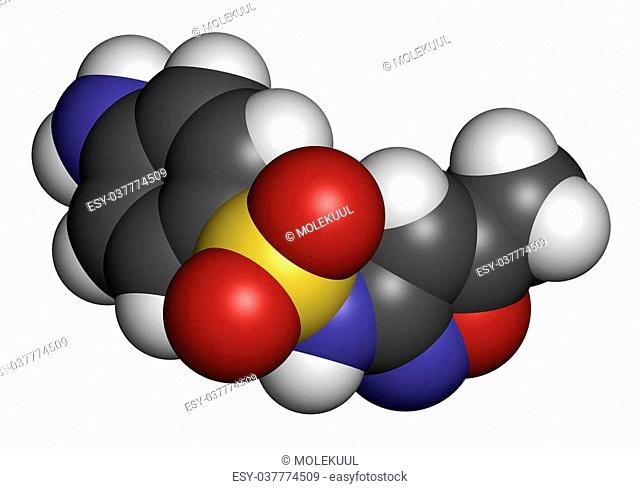 Sulfamethoxazole antibiotic drug molecule (sulfonamide class). Commonly used to treat urinary tract infections. Atoms are represented as spheres with...