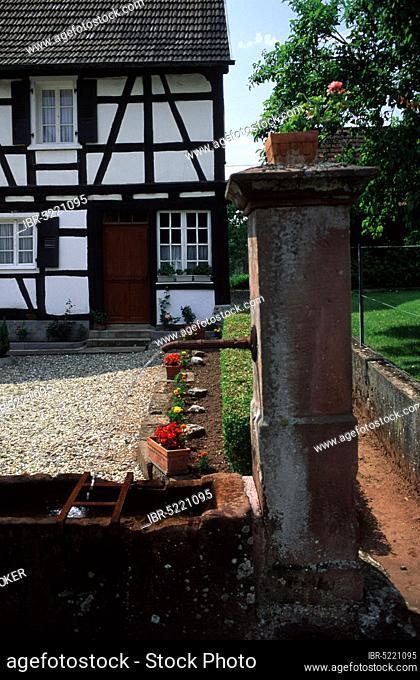 Well in garden, Obersteinbach, Vosges Mountains, France, Well in garden, Obersteinbach, Northern Vosges, France, Europe
