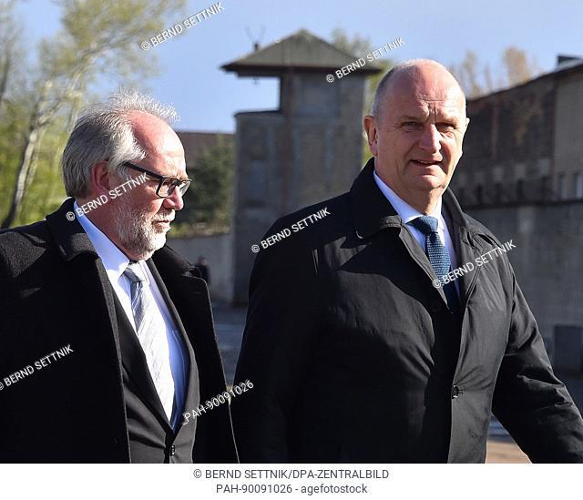 Brandenburg Premier Dietmar Woidke (R) and Günter Morsch, Director of the state of Brandenburg's Foundation for Memorials