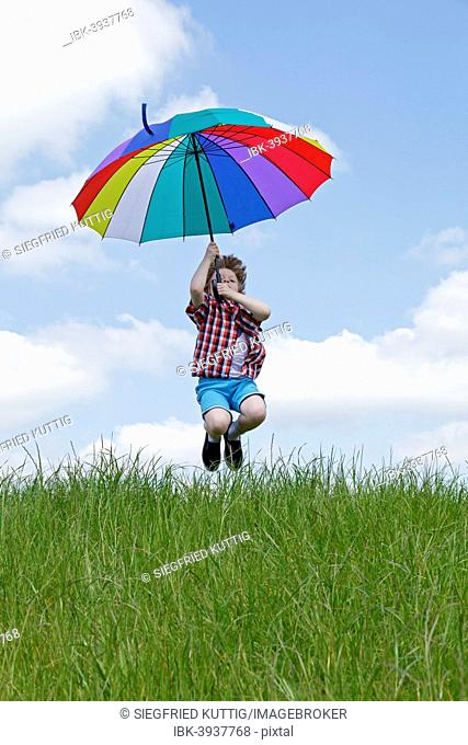 Boy with colorful umbrella jumping on meadow