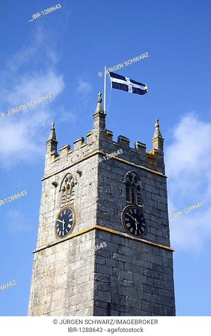Cornish flag on the church tower of St Just in Penwith, Cornwall, England, United Kingdom, Europe