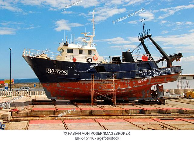 Fishing boat docked for repairs, Villajoiosa, Costa Blanca, Spain, Europe