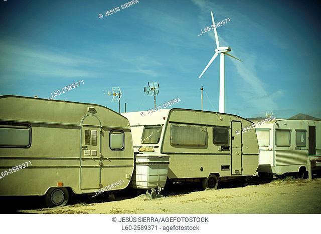 Motor homes in Puerto de La Cruz , Jandia , Fuerteventura , Canary Islands