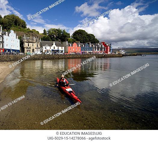 Canoeist In Tobermory Harbor, Isle Of Mull, Argyll