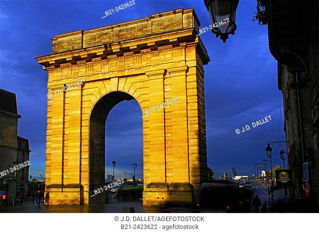 Porte de Bourgogne gate (1751-1755) at Bordeaux, Gironde, Aquitaine, France