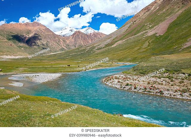 Landscape of blue river and mountains, Tien Shan, Kirgizstan