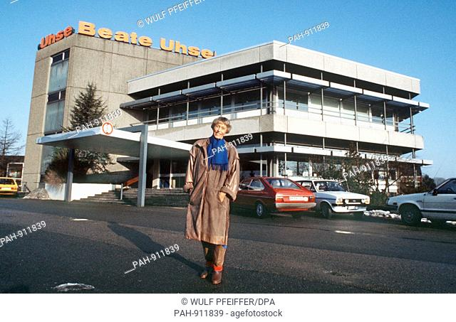 Beate Uhse-Rotermund poses in front of the Flensburg headquarters in February 1984. The erotica entrepreneur died of pneumonia at the age of 81 in a hospital in...