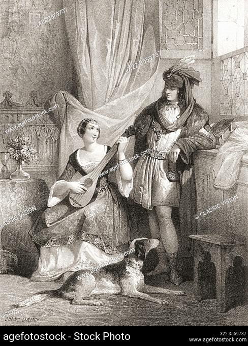 King Charles VII of France with his chief mistress Agnes Sorel. After a 19th century work by Jules David