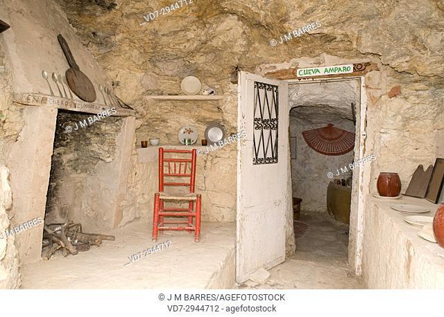 Troglodyte house. La Azufrera old mining neighborhood of Libros, Teruel province, Aragon, Spain
