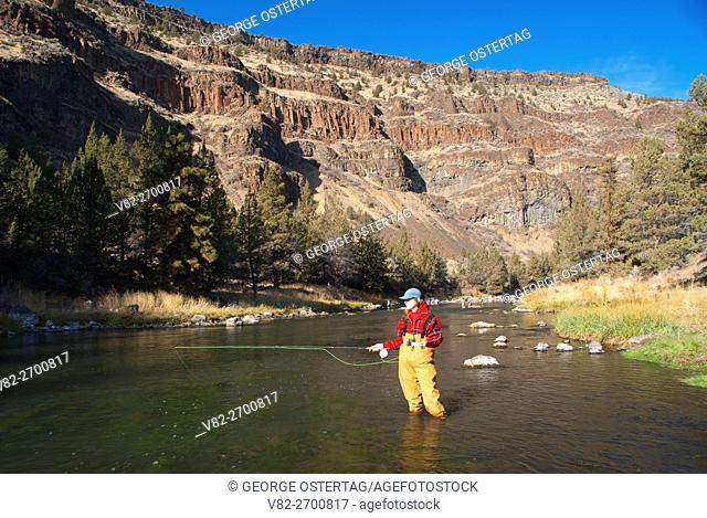 Flyfishing in Deschutes Wild & Scenic River, Lower Deschutes River National Back Country Byway, Prineville District Bureau of Land Management, Oregon