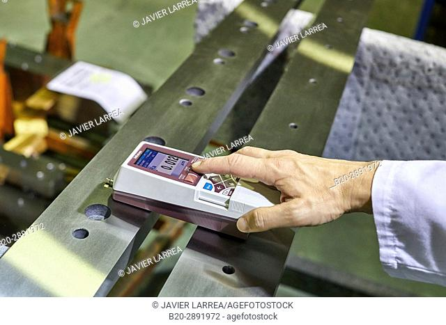 Quality control technician, Checking the roughness. Profilometer, Gipuzkoa, Basque Country, Spain, Europe