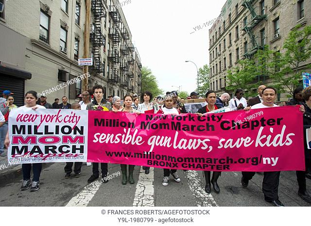 Hundreds march through the streets of the South Bronx in New York for the Moms Demand Action for Gun Sense march and rally