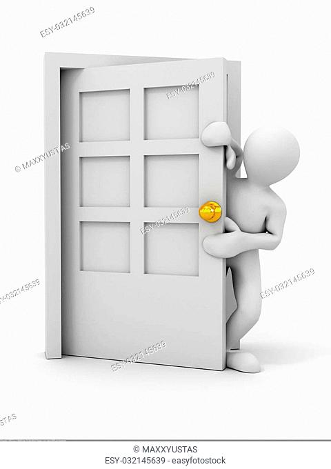 people entering the door. 3d