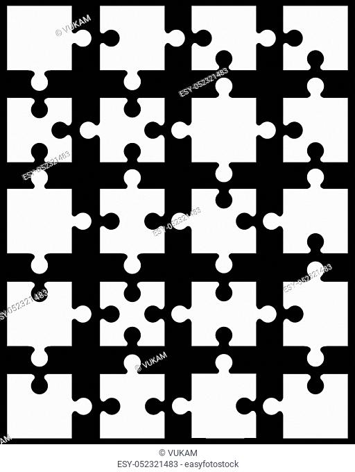 Vector illustration of separate parts of white puzzle