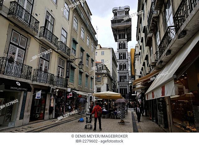 The elevator Elevador de Santa Justa between Bairro Alto and Chiado, or Baixa, Lisbon, Portugal, Europe