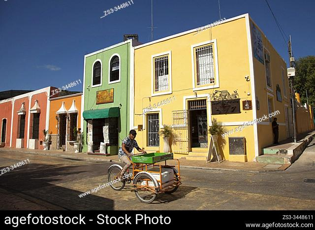Vendor in front of the colonial buildings at the city center, Valladolid, Yucatan Province, Mexico, Central America