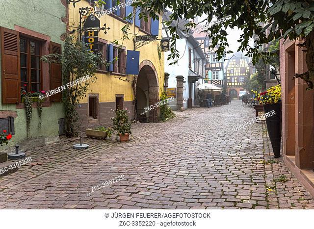 scenic lane of the tourist destination Riquewihr, village of the Alsace Wine Route, France, cobblestone lane with vine and flower decoration, autumn scene