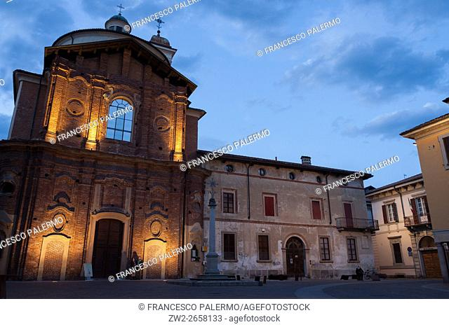 Auditorium San Dionigi in a picturesque spring sunset. Vigevano, Lombardy. Italy