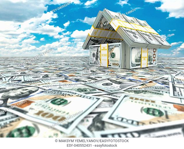 Bank. House from pack of dollar on cloudscape. 3d