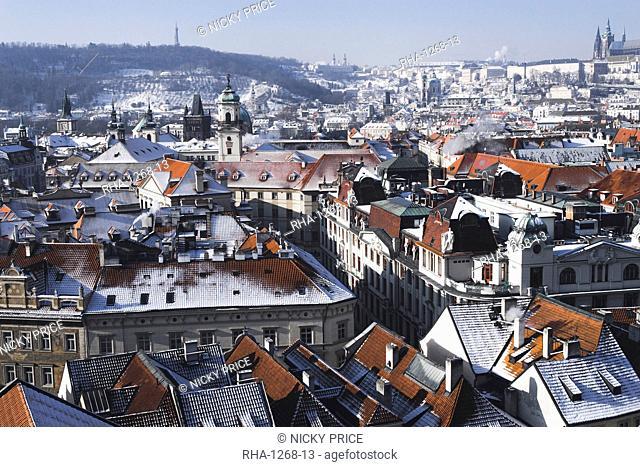City from the Astronomical Clock Tower, Prague, Czech Republic, Europe
