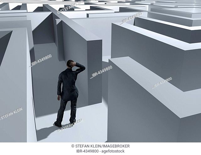 Man in the labyrinth, symbolic image, computer graphics