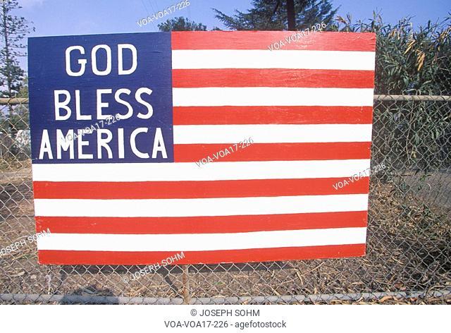 Wooden American Flag on Chain Link Fence, Santa Paula, California