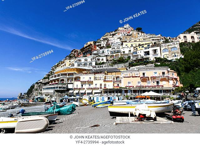 View from the Beach of houses clinging to the hillside at Positano Amalfi Coast Campania Italy Europe