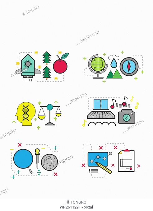 Line icon set related to education