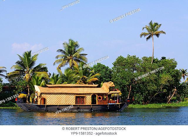 Houseboat on the Kerala Backwaters, Kerala, India