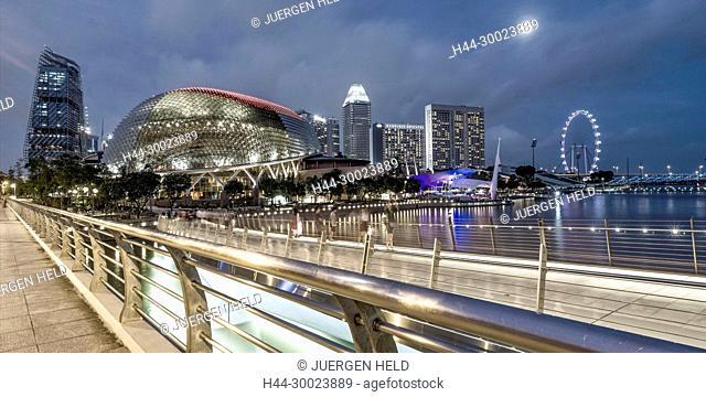Esplanade Entertainment Center, Skyline, Big Wheel, Marina Bay, Singapore, Singapur, Southest Asia