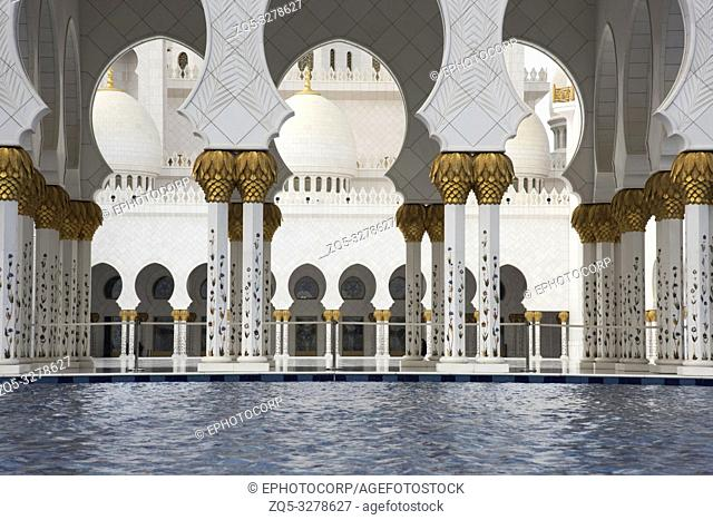Inside the Sheikh Zayed Grand Mosque, Abu Dhabi, UAE. Largest mosque in the country