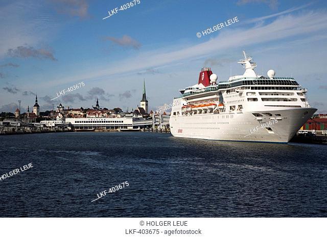 Cruise ship MS Empress in front of steeples of Tallinn, Harjumaa, Estonia, Baltic States, Europe