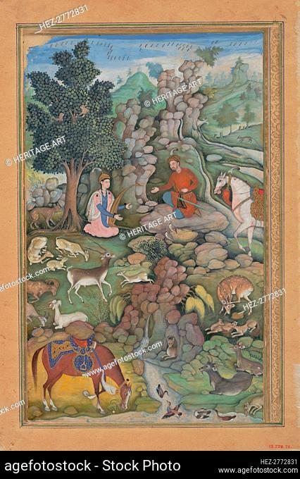 Bahram Gur Sees a Herd of Deer Mesmerized by Dilaram' s Music, Folio from.., 1597-98. Creator: Miskin