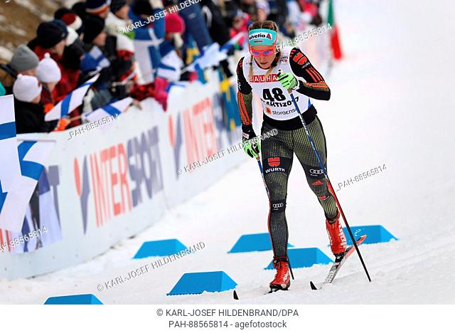 Nicole Fessel from Germany in action in the women's 10km cross country event at the Nordic Ski World Championship in Lahti, Finland, 28 February 2017