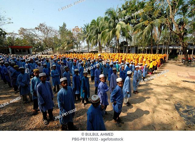 Students of Rajakhali Bohumukhi Besharatul Ulum Islamia Madrasha at assembly Coxs Bazar, Bangladesh March 2011