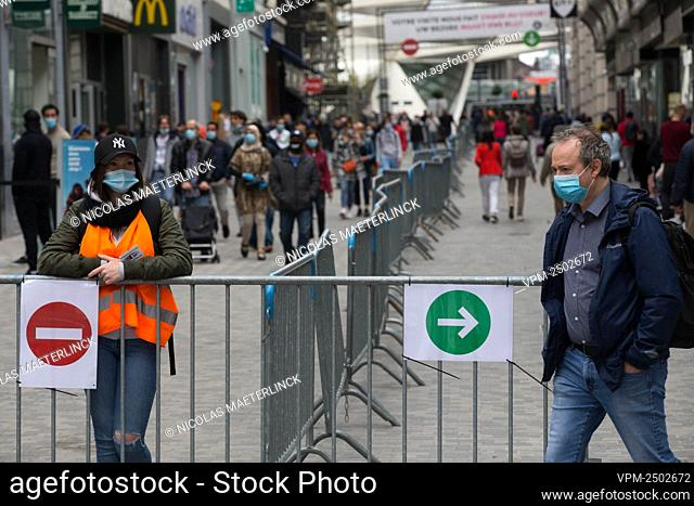 Illustration picture shows fences in the middle of the Nieuwstraat/ Rue Neuve shopping street in Brussels, Saturday 16 May 2020
