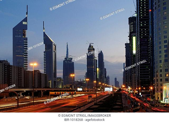 Skyscrapers on Sheikh Zayed Road, Al Satwa, Emirate of Dubai, United Arab Emirates, Middle East