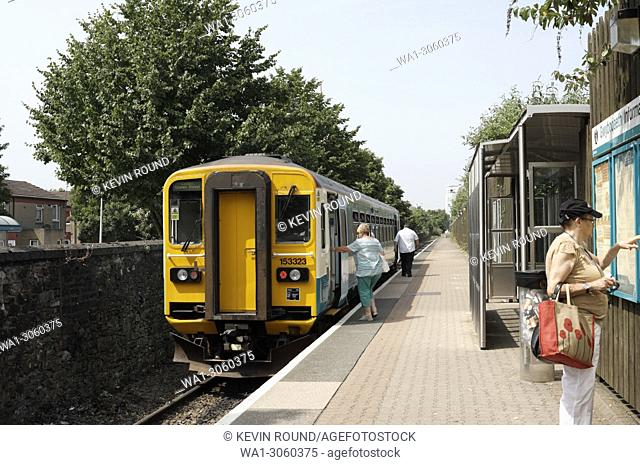 Single carriage commuter train serving the Cardiff Bay shuttle service, Wales UK