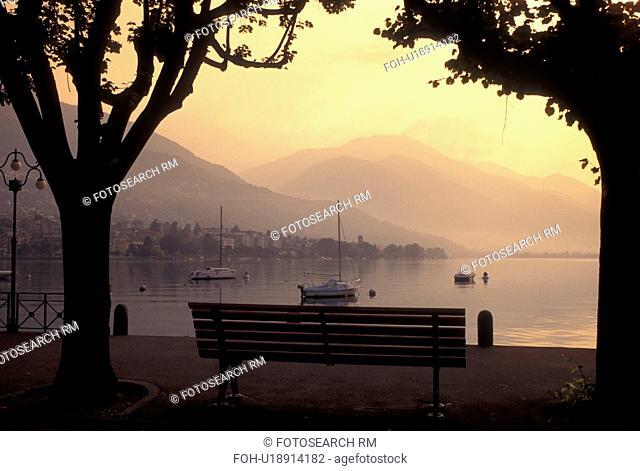 Switzerland, Ticino, Locarno, Lakefront park along Lake Maggiore in the city of Locarno