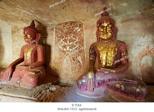 Buddha statues in the Po Win Daung Buddhist cave, dating from the 15th century, Monywa, Sagaing Division, Myanmar (Burma), Asia