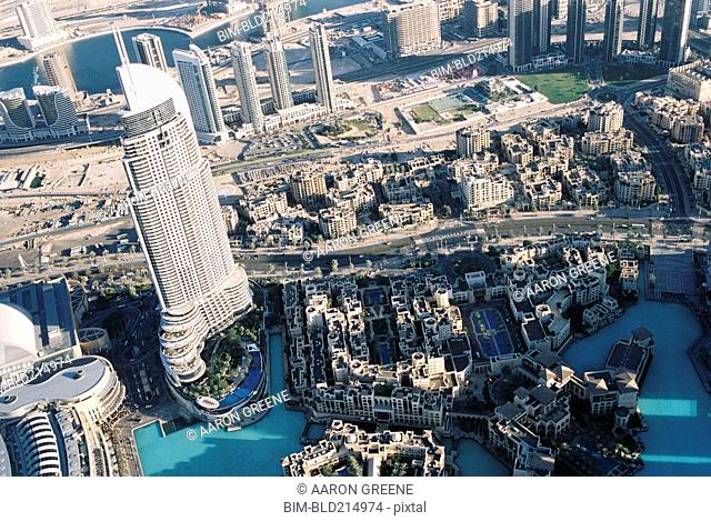 Aerial view of cityscape, Dubai, United Arab Emirates