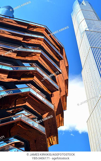 The Vessel, a new landmark and tourist destination, stands in Hudson Yards, New York City