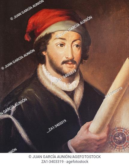 Juan de la Cosa portrait. 15th Century Navigator and cartographer, painted by Luis Fernandez Gordillo in 1979. Naval Museum of Madrid
