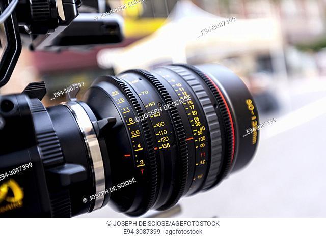 A close up of a video camera lens