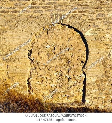 Door on wall (caliphal style, 10th century), Calatayud. Zaragoza province, Aragón, Spain