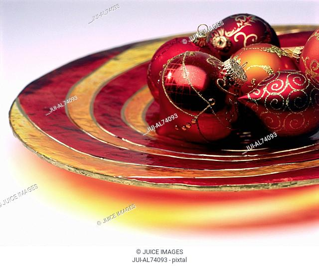 Still life of a gold Christmas decoration
