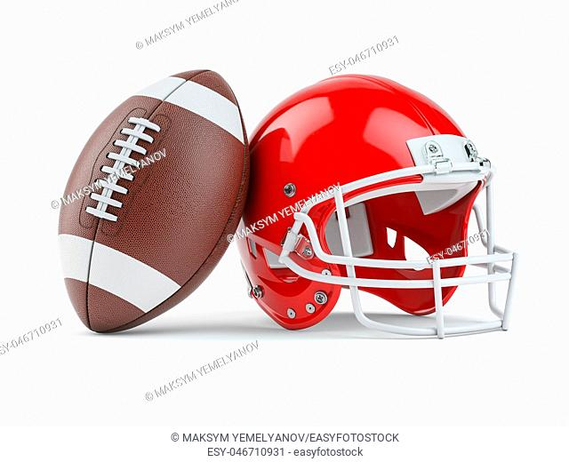 American football helmet and ball isolated on white. 3d illustration