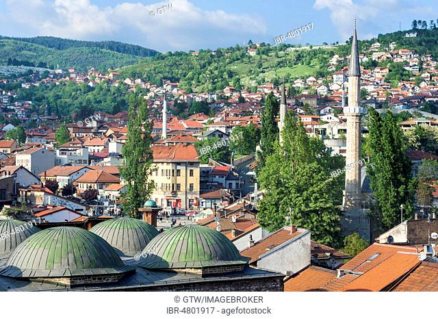 Bascarsija mosque and cupolas of Brusa Bezistan Bazar, Sarajevo, Bosnia and Herzegovina